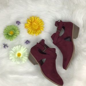 Maroon Faux Suede Cut-Out Booties 🛍